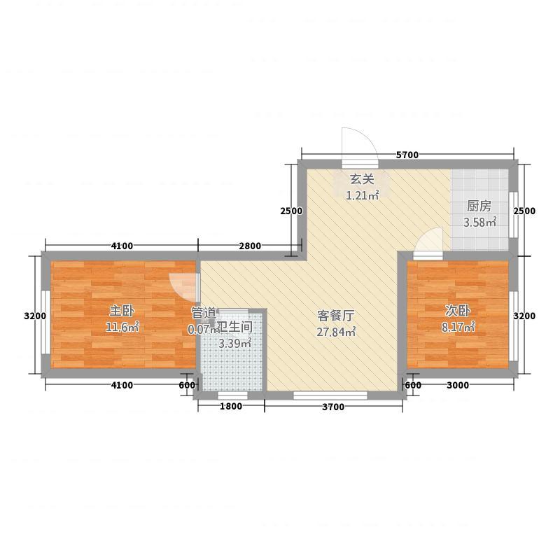 学府名城7.30㎡高层G2a户型2室1厅1卫