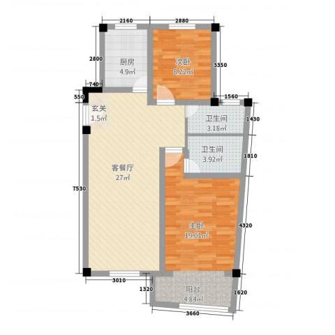 高成上海假日2室1厅2卫1厨66.22㎡户型图