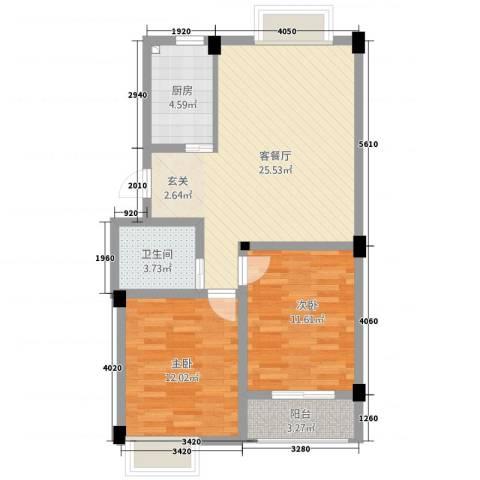 五一花园2室1厅1卫1厨88.00㎡户型图
