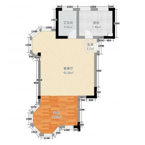 高成上海假日1厅1卫1厨76.00㎡户型图