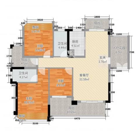 东方・比华利山庄3室1厅2卫1厨123.00㎡户型图