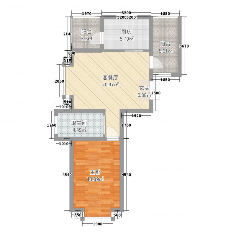 海湾壹号77.58㎡A3户型1室1厅