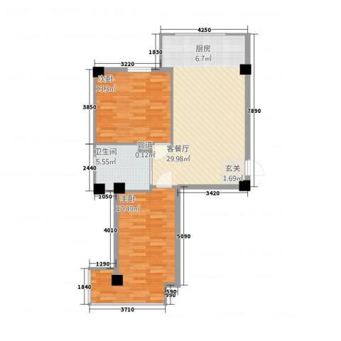 金山翰林苑2室1厅1卫0厨87.00㎡户型图