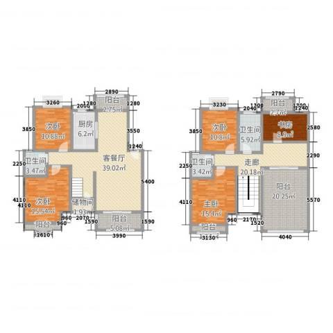 天工颐园5室1厅3卫1厨256.00㎡户型图