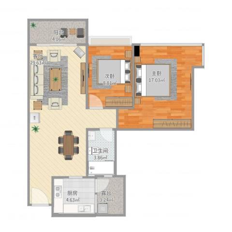 雅居乐世纪新城2室1厅1卫1厨95.00㎡户型图