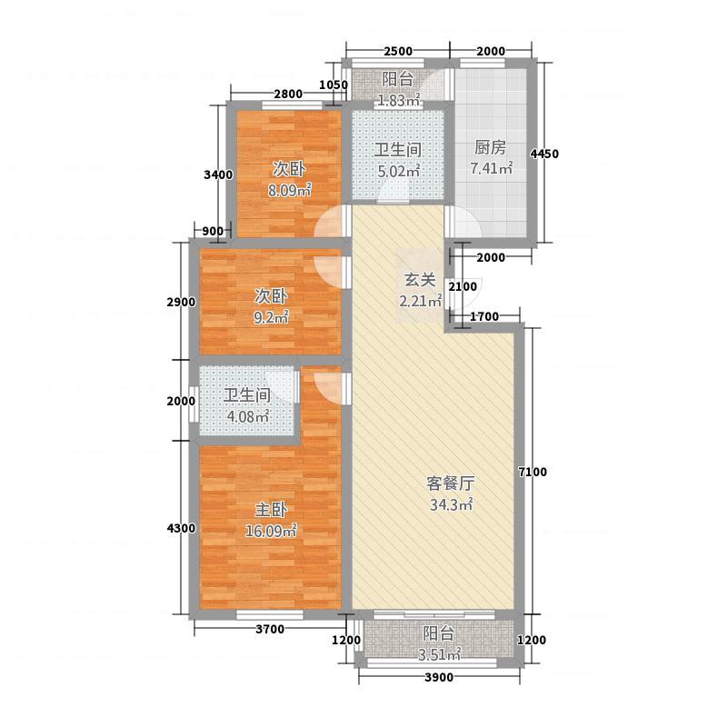 世纪雅苑117.75㎡户型3室2厅2卫1厨