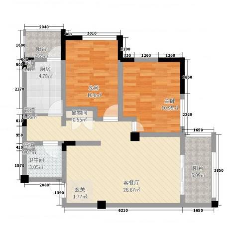 教授花园IV期碧山临海2室1厅1卫1厨95.00㎡户型图