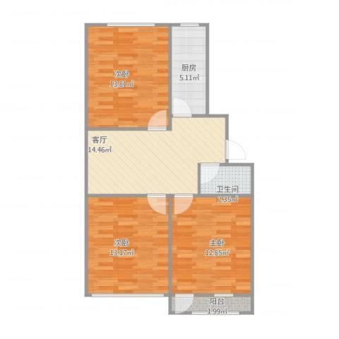 胜利小区3室1厅1卫1厨86.00㎡户型图