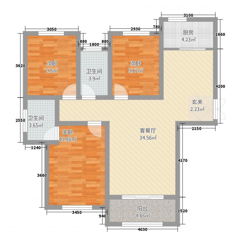 建业・菊香里121.00㎡D户型3室2厅2卫1厨