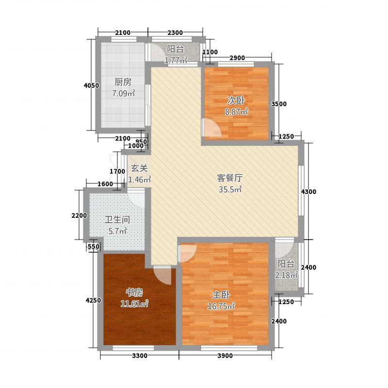 世纪雅苑115.00㎡户型3室2厅1卫1厨