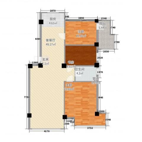 金山翰林苑3室1厅1卫0厨129.00㎡户型图