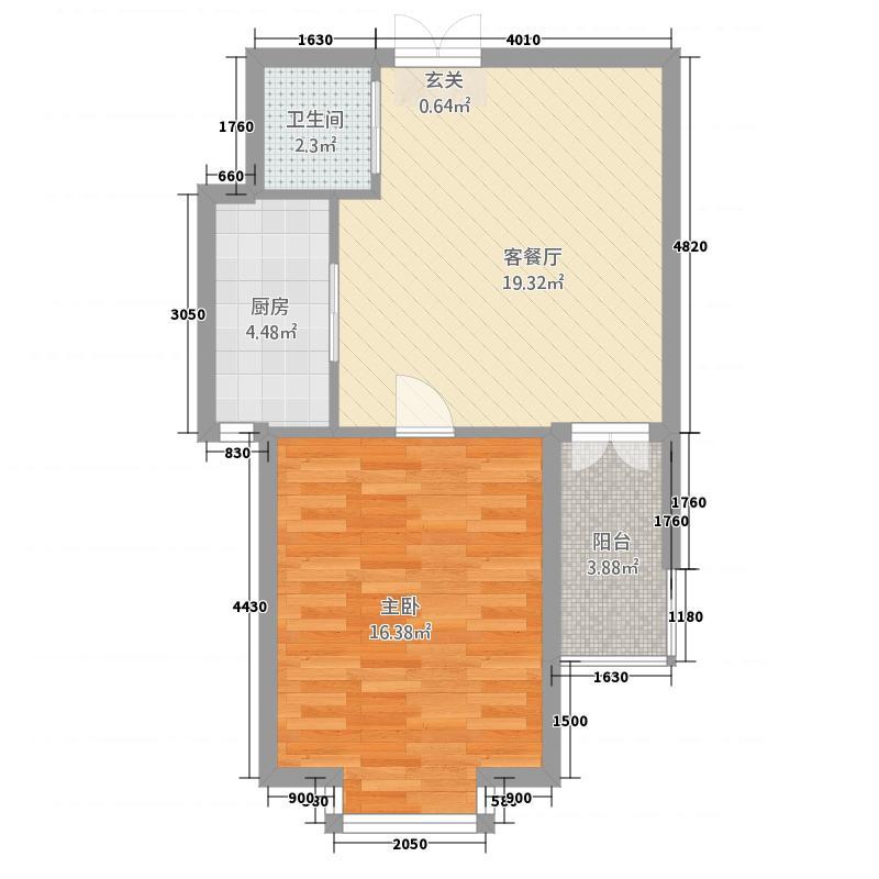 海湾壹号65.21㎡A2户型1室1厅