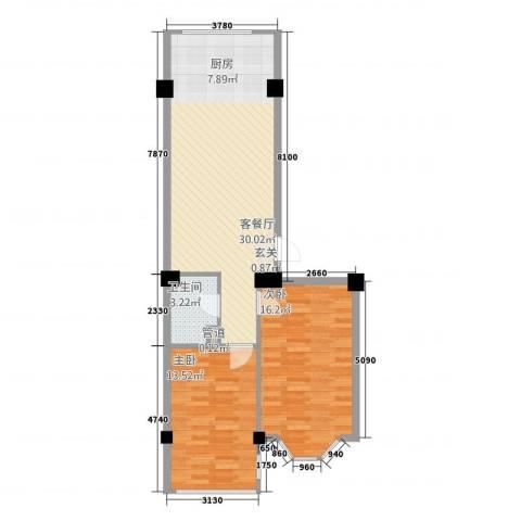 金山翰林苑2室1厅1卫0厨83.00㎡户型图