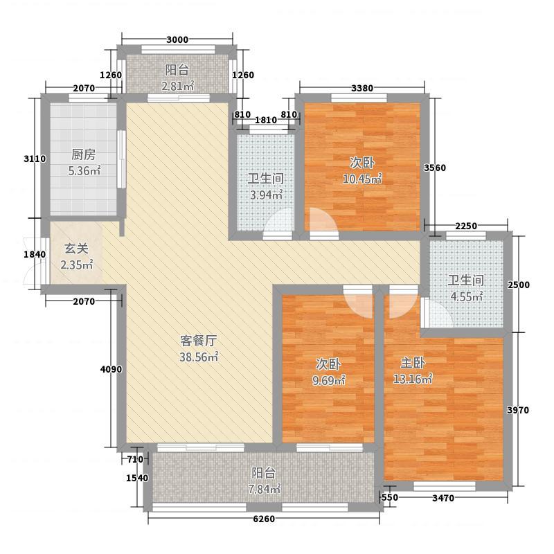 建业・菊香里14.00㎡B户型3室2厅2卫1厨