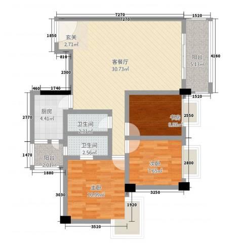 骏逸苑3室1厅2卫1厨107.00㎡户型图