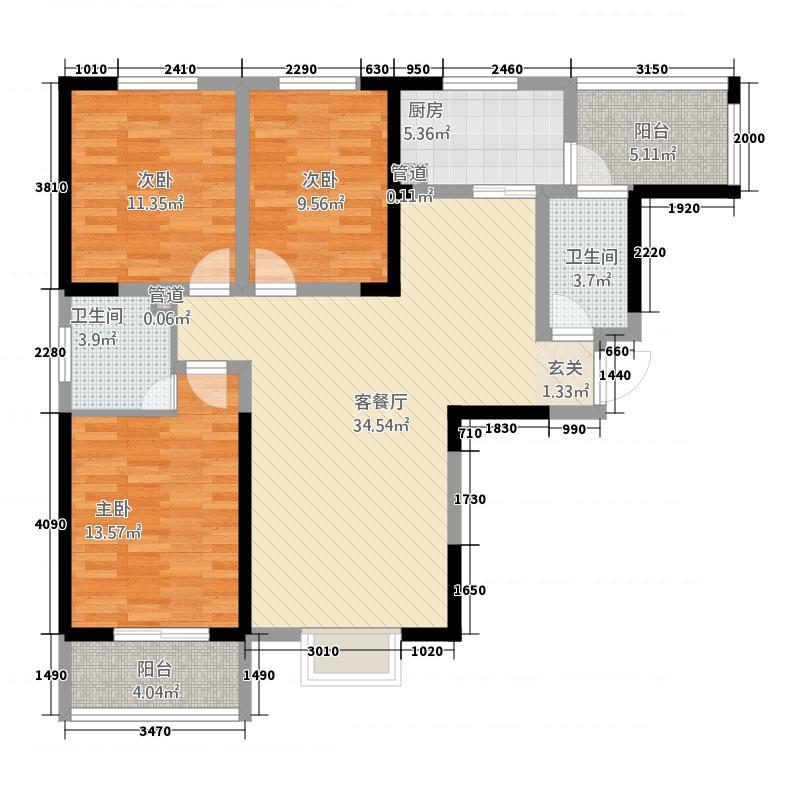 万象新城132.00㎡户型3室2厅2卫1厨