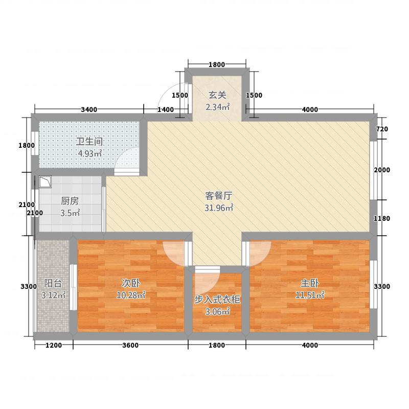 兴乐新城88.78㎡B户型2室2厅1卫1厨