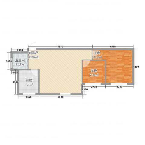 维纳阳光2室1厅1卫1厨84.00㎡户型图
