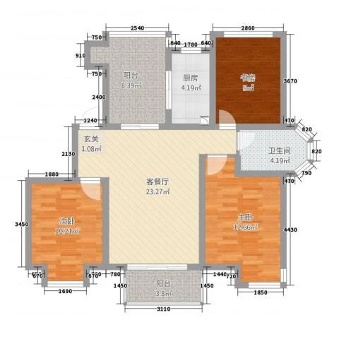 高成上海假日3室1厅1卫1厨110.00㎡户型图