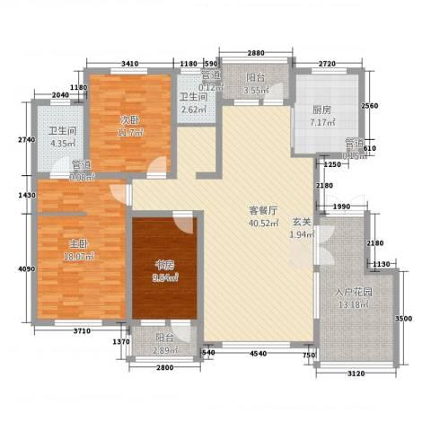誉�华府3室1厅2卫1厨164.00㎡户型图