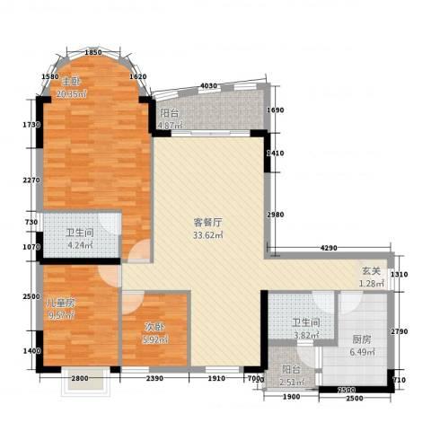 骏景约克公寓3室1厅2卫1厨129.00㎡户型图