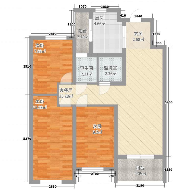 金域咸阳12.44㎡B户型3室2厅2卫