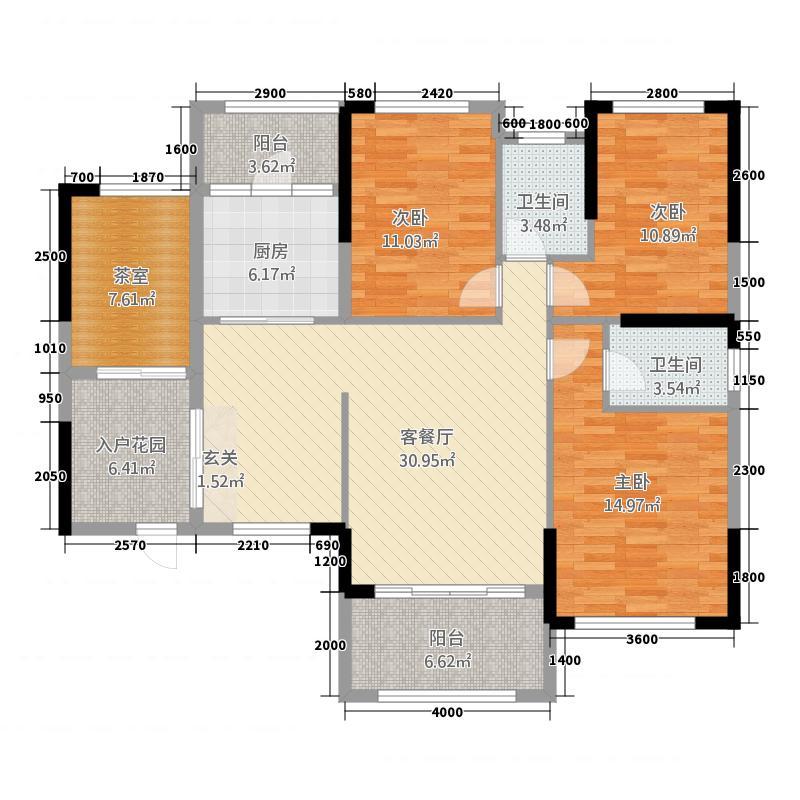 花语倾城118.30㎡1-2#A2户型4室2厅2卫1厨
