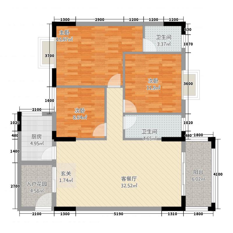 恒宝・星河湾121.85㎡A户型3室2厅2卫