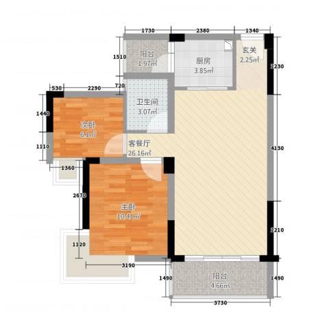 盛世家园2室1厅1卫1厨81.00㎡户型图