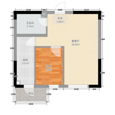 清枫丽舍1室1厅1卫1厨55.00㎡户型图