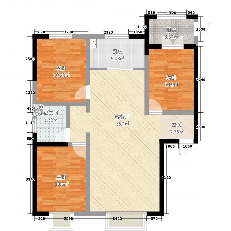 名仕雅园112.00㎡1129户型3室2厅1卫1厨