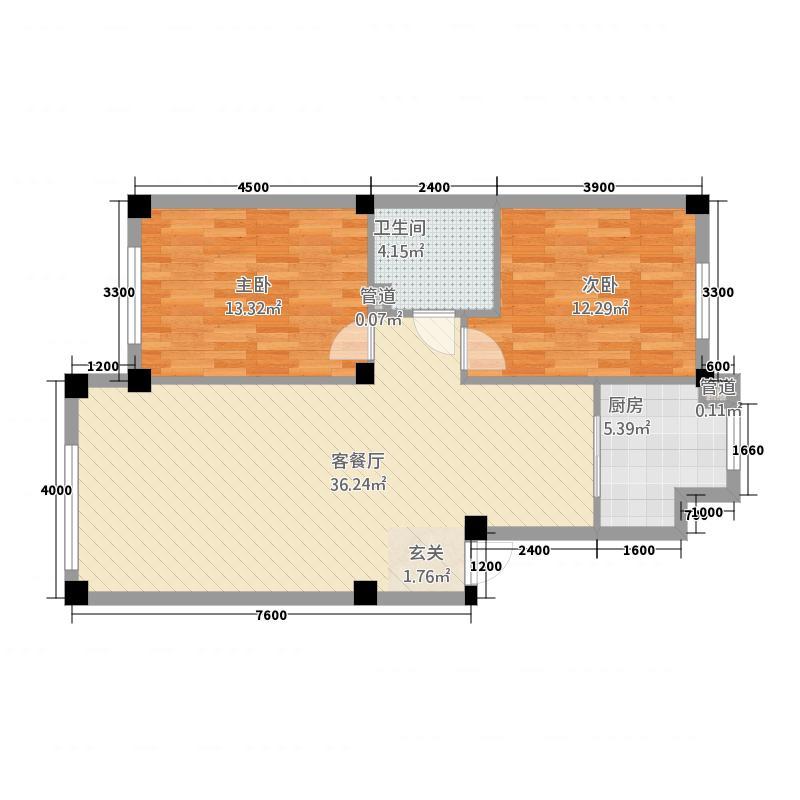 学府名城1.80㎡多层A4户型2室2厅1卫