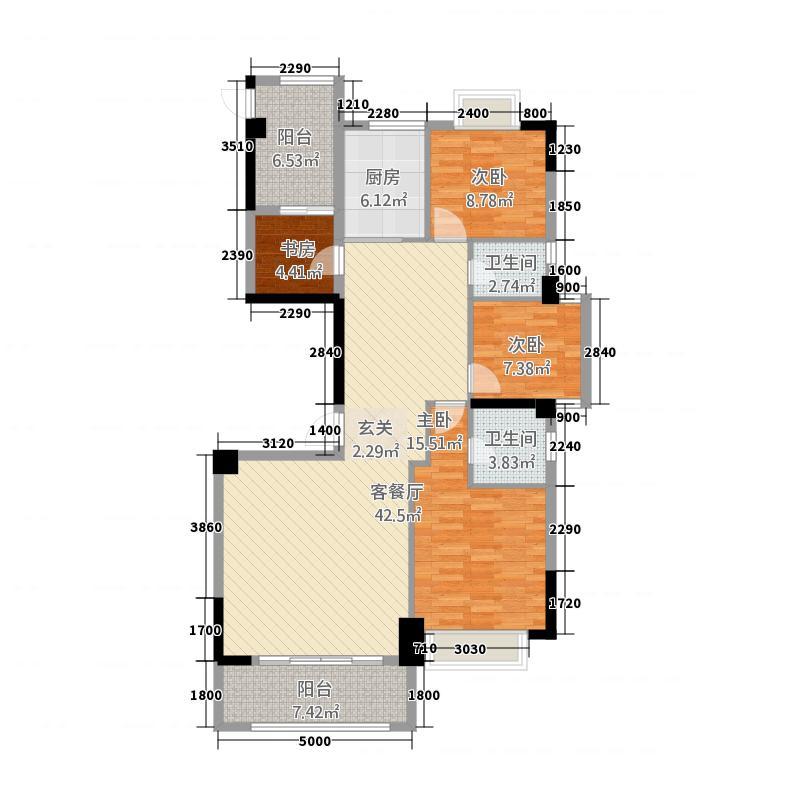 国际商品城三期尚东一品北区9栋05单元户型4室2厅2卫1厨