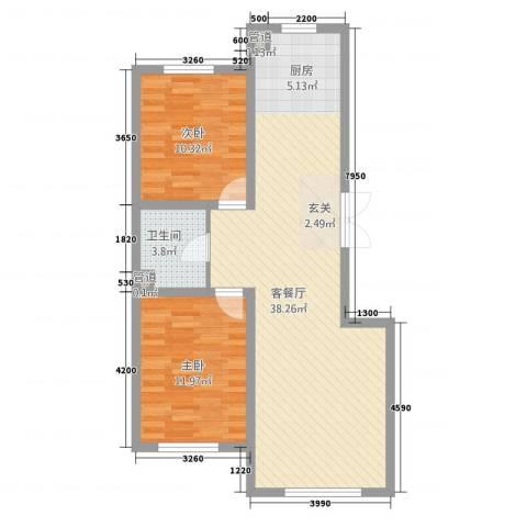 誉�华府2室1厅1卫0厨91.00㎡户型图