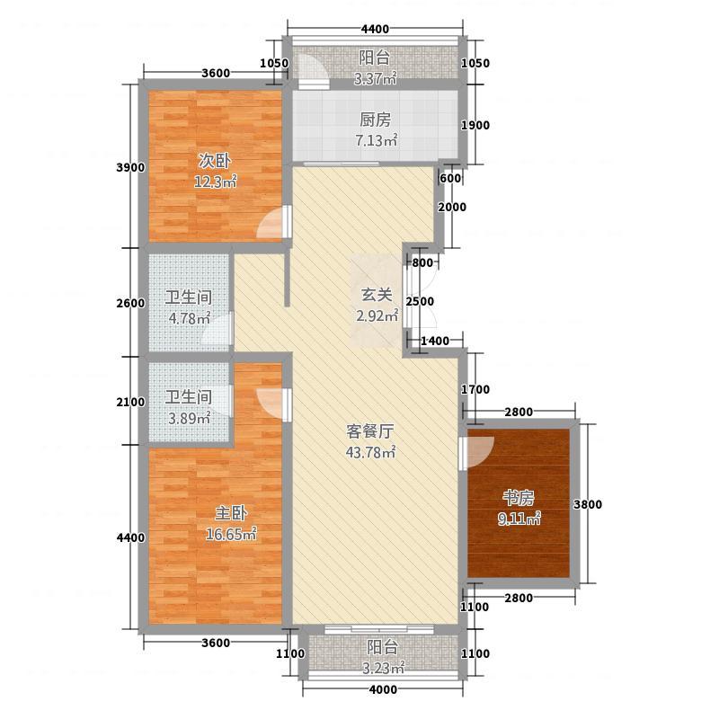 世纪雅苑13.00㎡户型3室2厅2卫1厨