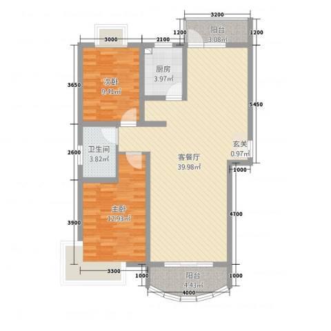 金色水岸花园2室1厅1卫1厨77.63㎡户型图