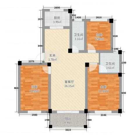 东山花园3室1厅2卫1厨71.45㎡户型图