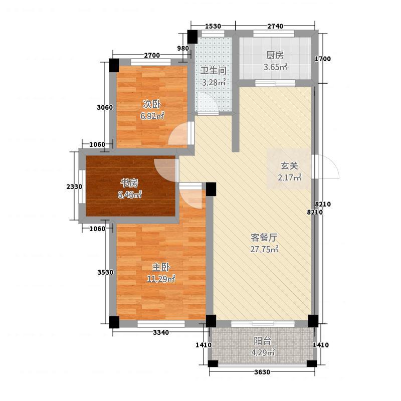 东山花园2.86㎡A-3户型3室2厅1卫1厨