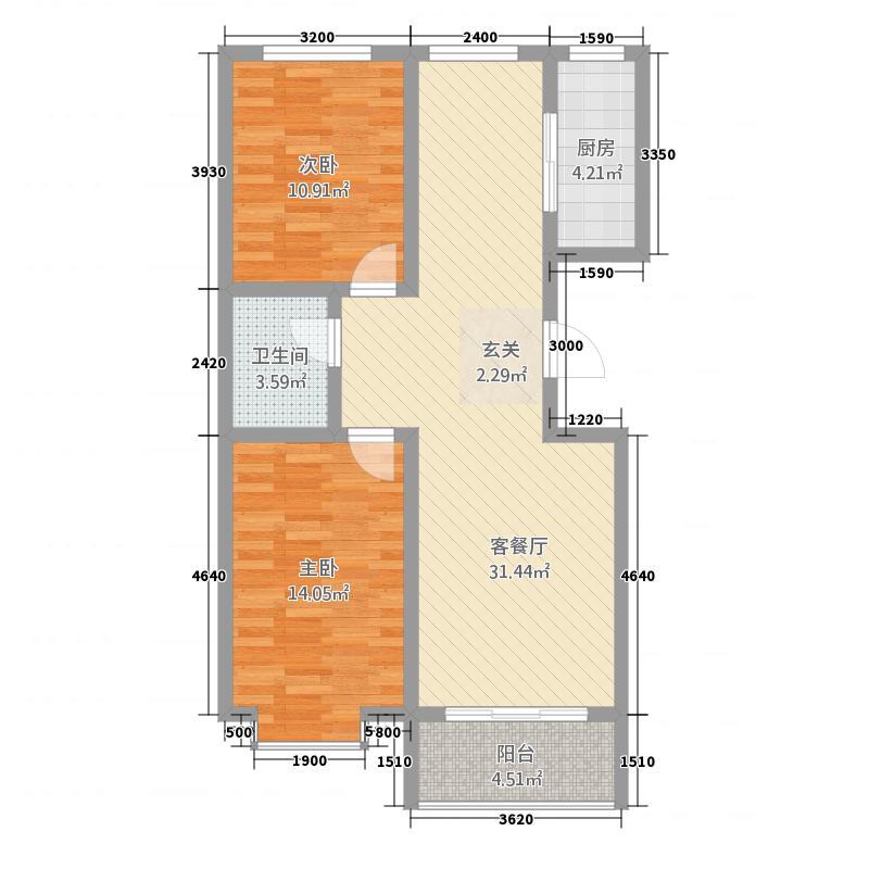尚林苑8.00㎡23、24#A户型3室2厅1卫