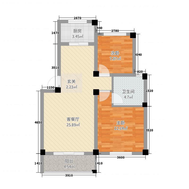 东山花园84.30㎡A-5户型2室2厅1卫1厨