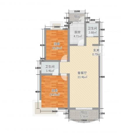 金色水岸花园2室1厅2卫1厨77.26㎡户型图