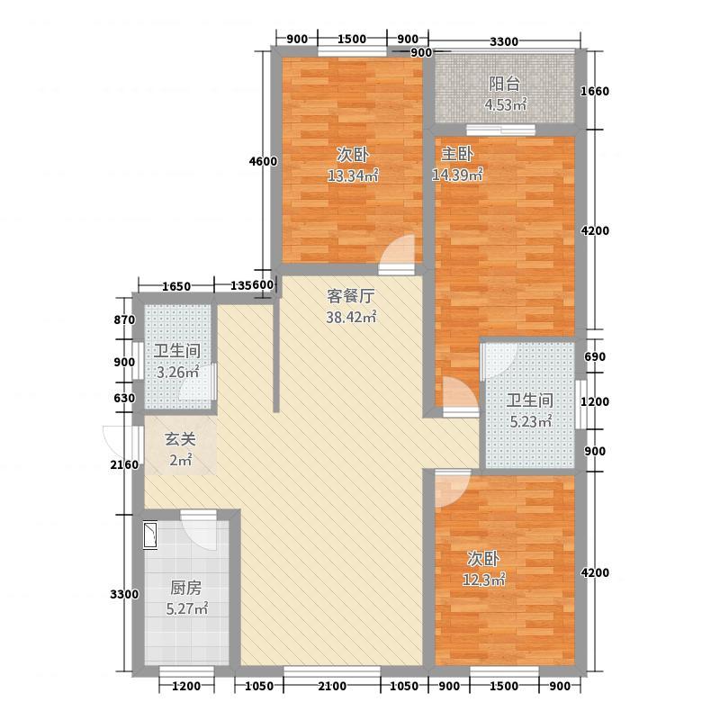 兴乐新城12.32㎡F户型3室2厅2卫1厨