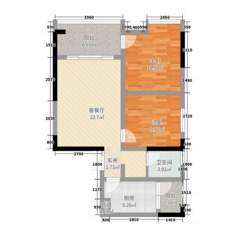 城市公馆2室1厅1卫1厨61.76㎡户型图