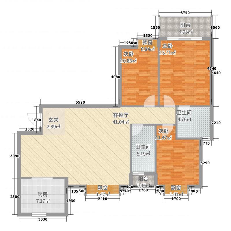 民鑫华府11.00㎡B1户型3室2厅2卫1厨