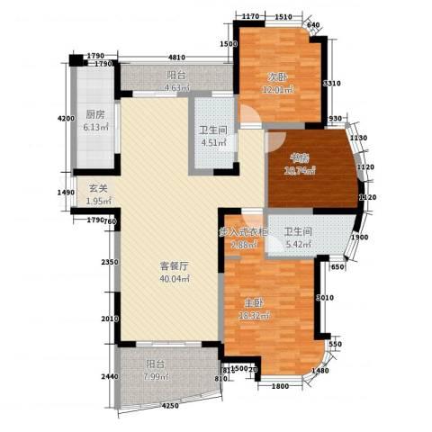 春龙金色海岸3室1厅2卫1厨147.00㎡户型图