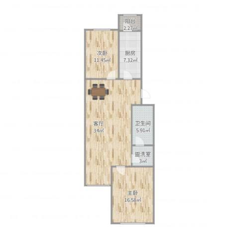 龙锦苑东三区2室2厅1卫1厨108.00㎡户型图