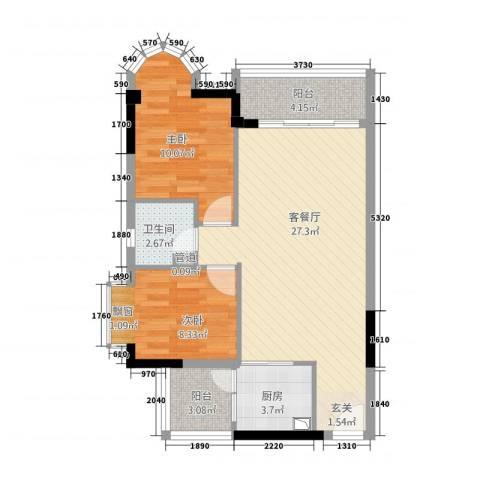 金沙假日广场2室1厅1卫1厨85.00㎡户型图