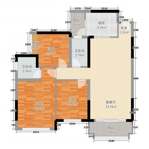 金谷庄园3室1厅2卫1厨129.00㎡户型图