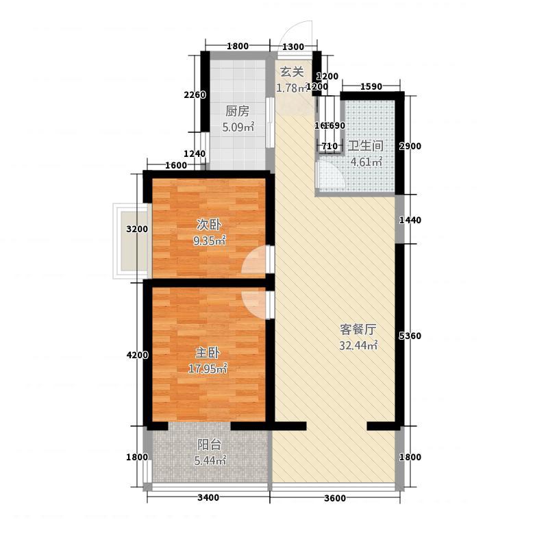 朝阳一号114.52㎡户型2室2厅1卫1厨