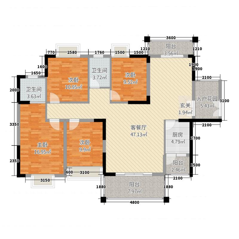 长鸿・龙宸桦府123.77㎡长鸿?龙宸桦府12477―户型4室2厅2卫1厨